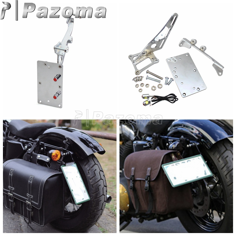 Chrome Motorcycle Tail Light Side Mount License Plate Bracket for <font><b>Harley</b></font> <font><b>Iron</b></font> <font><b>883</b></font> XL883 XL1200 image