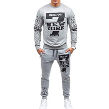 ZOGAA 2018 European and American new casual mens drawstring elastic waist letter print loose sports suit