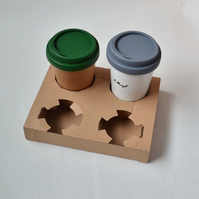 50pcs Lot Corrugated Paper Tray Box Cardboard 4 Cup Carrier For Coffee Reusable