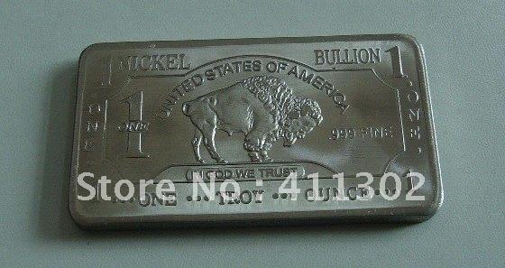 FREE SHIPPING 1 oz 999 Nickel Bullion Bullion BAR drop shipping