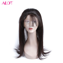 ALot Hair Pre Plucked 360 Lace Frontal With Baby Hair Brazilian Non Remy Human Hair Straight Closure Natural Black Color 10-20″