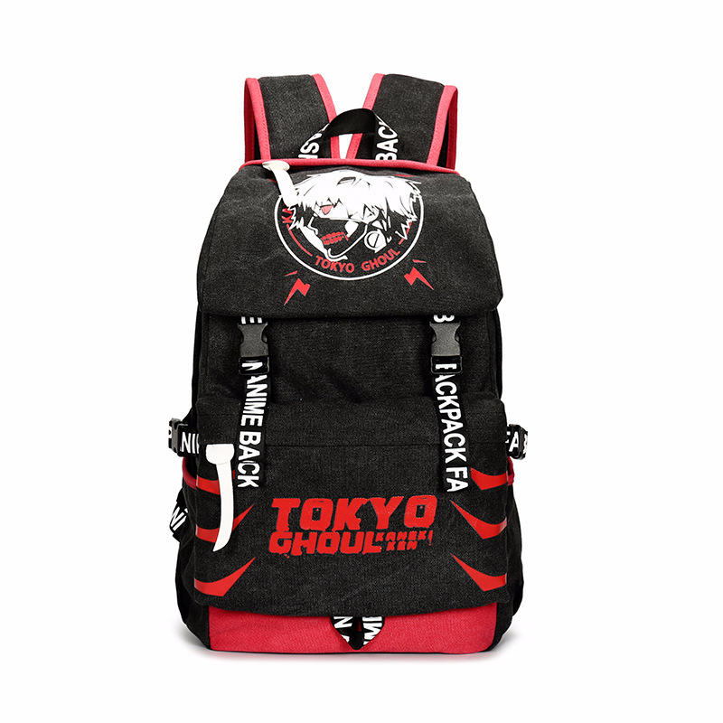 Men Women Boys Girls Japan Anime Tokyo Ghoul Kaneki Ken Canvas Backpack Rucksack School Book Laptop Bag Mochila anime cartoon tokyo ghoul cosplay backpack schoolbag one piece gintama school bag rucksack men s women s naruto travel bag