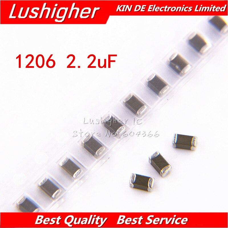 100pcs 1206 2.2uF 2200nf 225K 250V X7RError 10% SMD Ceramic Capacitor MLCC