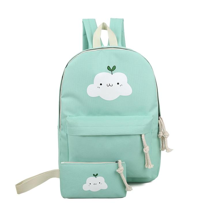 Women Canvas Backpack Cute Cloud Printing Backpacks Women's Travel Bags Mochila Rucksack Shoulder Bag 2pcs/set Nbxq149