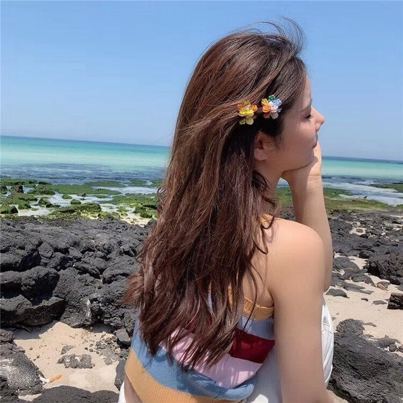 MENGJIQIAO 2019 Korean New Trendy Crystal Flower Hair Claws Colorful Hair Clips For Women Fashion Summer Hair Accessories in Women 39 s Hair Accessories from Apparel Accessories