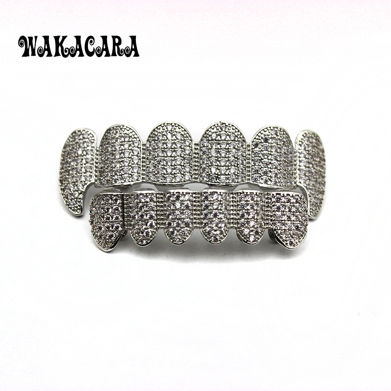 WAKACARA New Custom Fit Silver Plated CZ Micro Pave Exclusive Top&Bottom Gold Grillz Set Vampire &Classic Teeth for Women Men