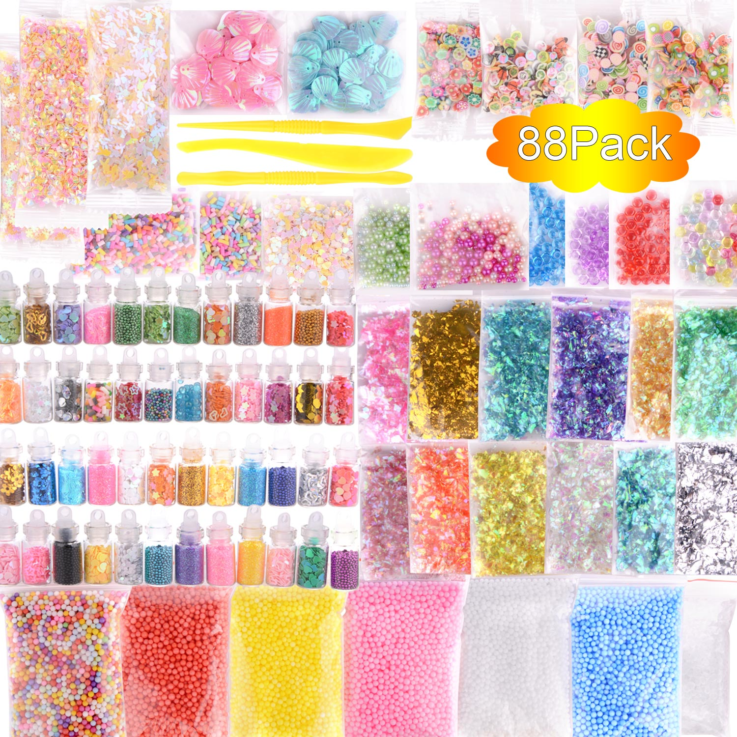 US $7 77 21% OFF|88 Pack Slime Making Kit Styrofoam Foam Balls Beads Charms  Glitter Jars Containers Slime for DIY Craft Homemade Party Supply-in Party