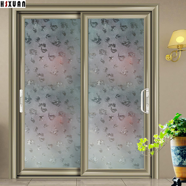Waterproof decorative window film 92cmx100cm frosted flower kitchen sliding door home decor window stickers hsxuan brand