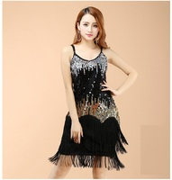 Sexy Lady Professional Latin Dance Dress Rumba/Ballroom/Tango Skirt Tassel Sequin Vestidos De Baile Latino 5 Colors