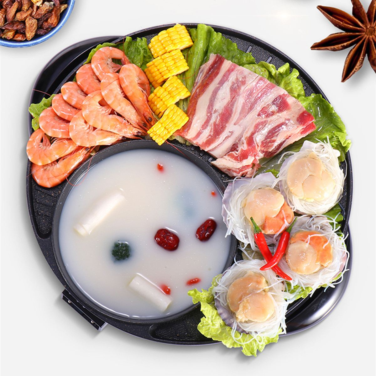 Electric Non Stick Grill Pan Griddle BBQ Smokeless Shabu Shabu Hot Pot Kitchen Cooking Tools Cookware Adjustable Heat Control