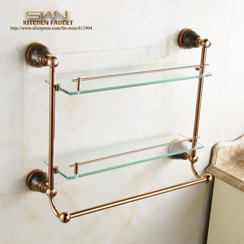 Rose Red Bathroom Shelf Dual Tiers <font><b>With</b></font> Towel Bar Rack 3962022
