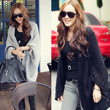 2016 autumn and winter batwing sleeve black female thick coats women cardigan sweaters womens sweater