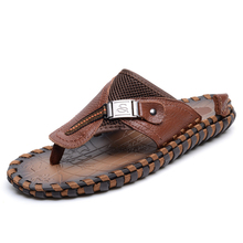 VKERGB Brand New Slippers High Quality Handmade Cow Genuine Leather Beach Sandals Cool Men PU Flip Flops Casual Shoes