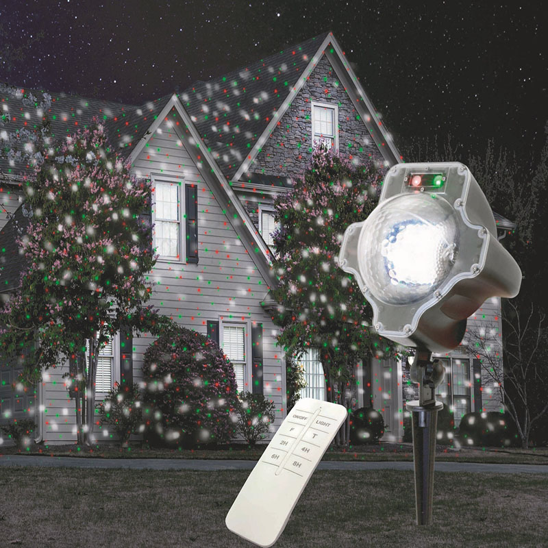 Remote control led white red green laser snowfall for Lumiere de noel exterieur
