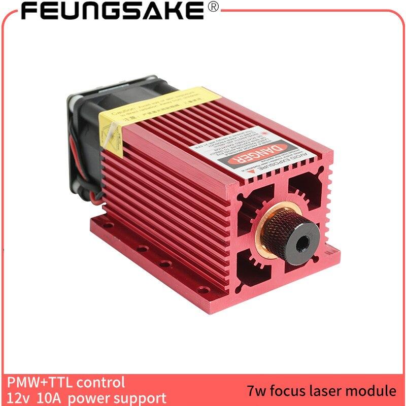 7 w module laser pour machine de gravure laser avec PMW TTL contrôle puissance réglable 445nm se concentrant beaucoup plus grand que 5500 mw