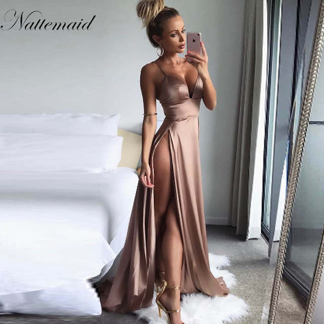 NATTEMAID Elegant Backless Satin Long Dress Party Sexy wedding Maxi Dresses  Vestidos Side Split deep V 07a9e186886d