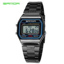 SANDA Esportes Homens Relógios de Luxo Em Aço Inoxidável Relógio de Ouro Mulheres relógios de Pulso Digital LED Relógio À Prova D' Água Relogio masculino