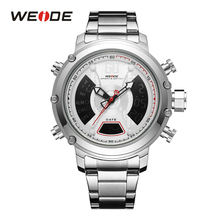 WEIDE New Arrival Luxury Brand Analog Digital Dual Display Quartz Men Sport Business Stainless Steel Strap Water Resistant watch цена