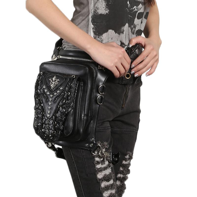 Steampunk kobiety talia nogi torby czaszka nit Messenger torby na ramię Retro Rock Fanny pack Gothic PU Leather kabura spadek torba na biodro w Saszetki od Bagaże i torby na  Grupa 2