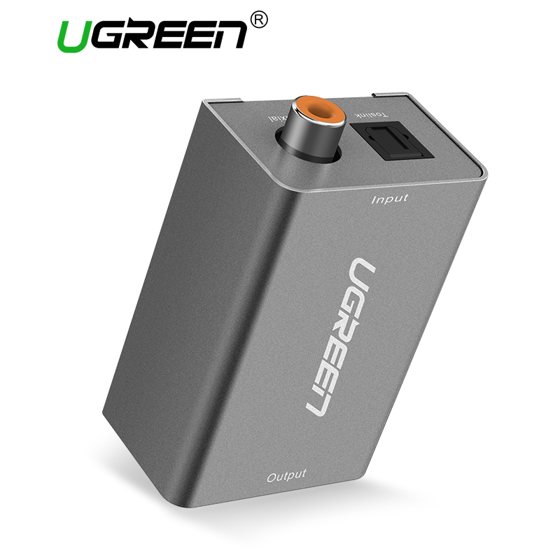 Ugreen Digital to Analog Audio Adapter Optical Coaxial Toslink to 3.5mm Audio with DC5V/2A EU Plug Converter Adapter for TV digital optical coaxial toslink to analog rca l r audio digital converter adapter dc 5v 1a with usb cable high speed