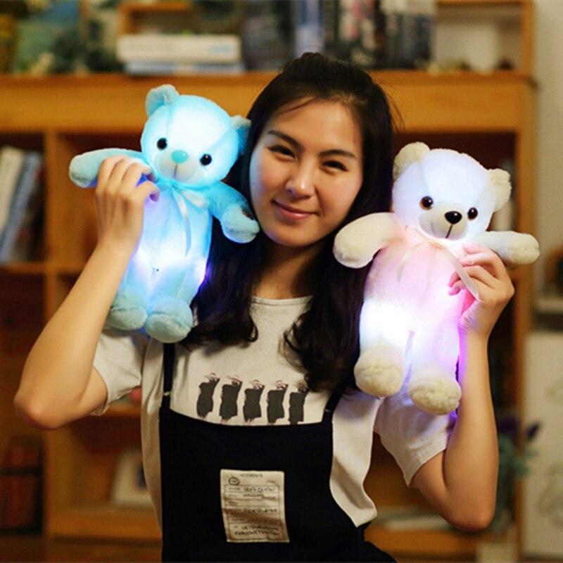 1pc 32cm Colorful Glowing Teddy Bear Plush Toy Kawaii Luminous LED Light Plush Bear Dolls Stuffed Cute Gift for Kids Girls glowing sneakers usb charging shoes lights up colorful led kids luminous sneakers glowing sneakers black led shoes for boys