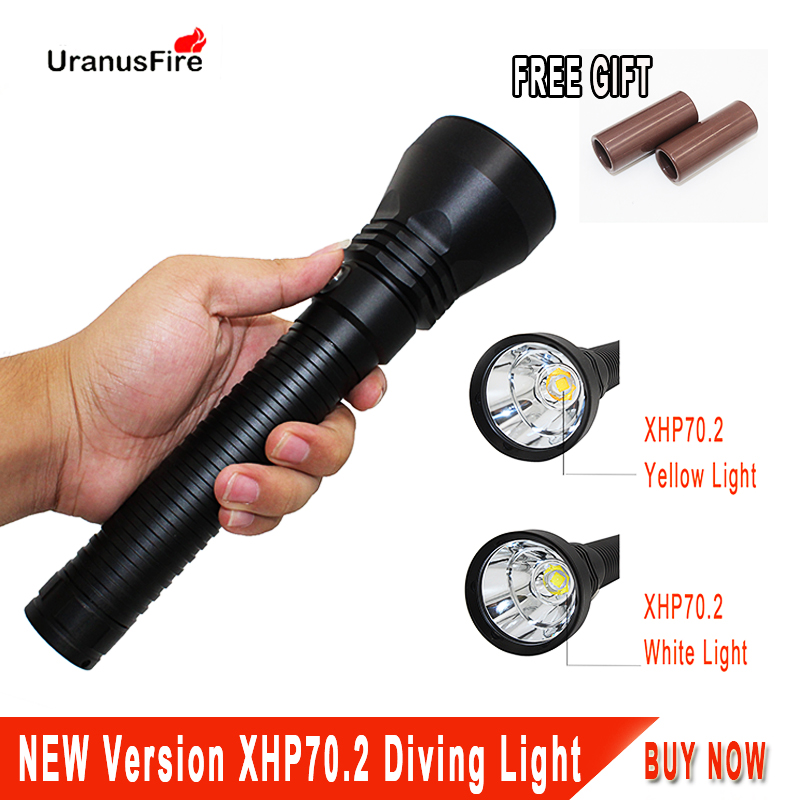 XHP70 Diving Flashlight 4000LM Underwater Torch Ultra Fire XHP70 2 LED Waterproof Lamp Light 26650 for