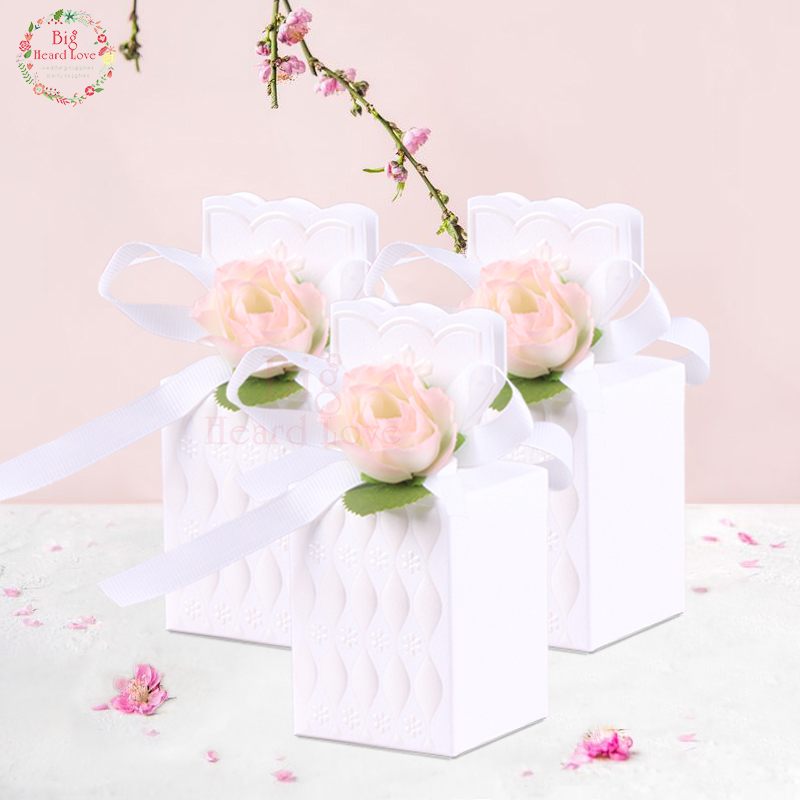 10pcs Vase Style Candy Box Bronzing Flower Chocolate Box Wedding Party Decoration Gift Box For Guest Wedding Favor Supplies
