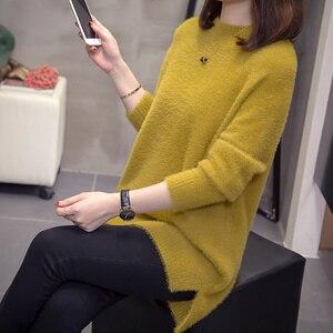 Image 5 - Plus rozmiar kaszmirowy sweter kobiet 2020 jesienno zimowa modne damskie dzianiny topy Split moherowe swetry ciepłe swetry Oversize