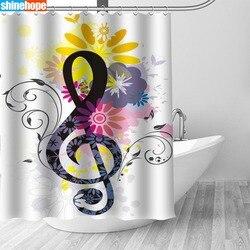 Wielka wyprzedaż nowy zwyczaj sztuki nuty nowoczesna prysznicowa zasłona z hakami łazienka wodoodporna tkanina poliestrowa