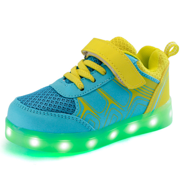 83067509fcf5 Children s Sneakers Boy girls flat Charging Luminous Lighted Colorful LED  lights shoes Kids Casual Flat