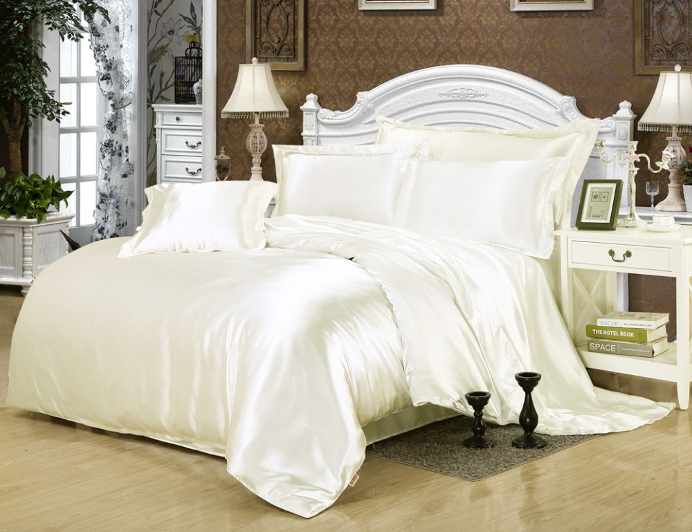 Solid Color White Color Satin Silk Luxury Cool Bedding Set