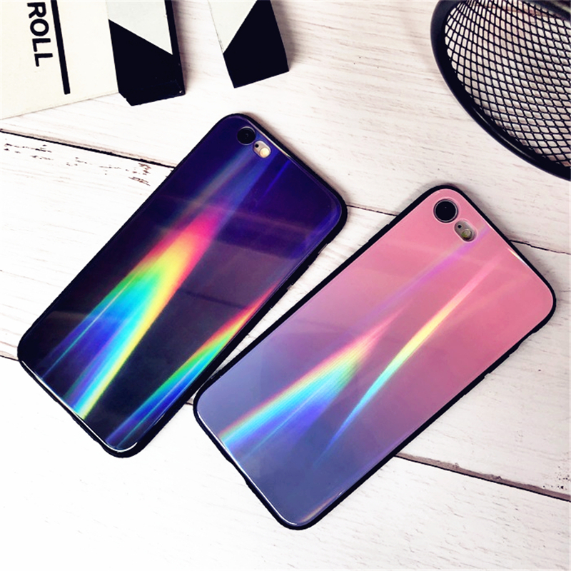 BONVAN For iPhone X 7 8 Plus Tempered Glass Back Case Gradient Color Laser Aurora Silicone Bumper For iPhone 7 6S 8 6 Plus Cover22
