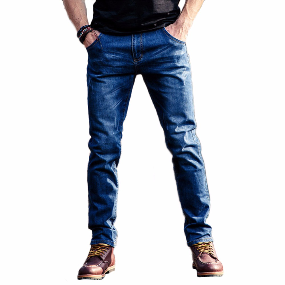 Mens jeans New Fashion Men Casual Jeans Slim Straight High Elasticity Feet Jeans Long Trousers