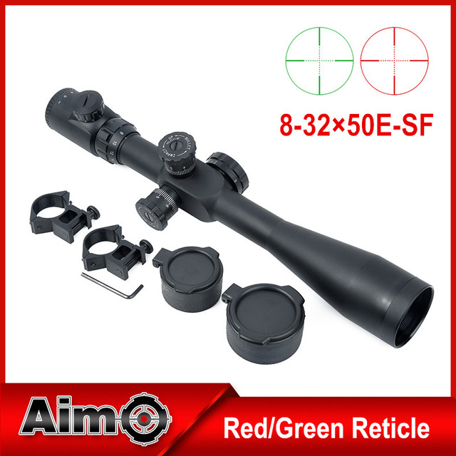Aim Optics Sniper Telescopic Sight 8-32x50 SF Red/Green Reticle Dot Hunting Shooting Rifle Scope With 20mm Rail Mount (AO 5304)