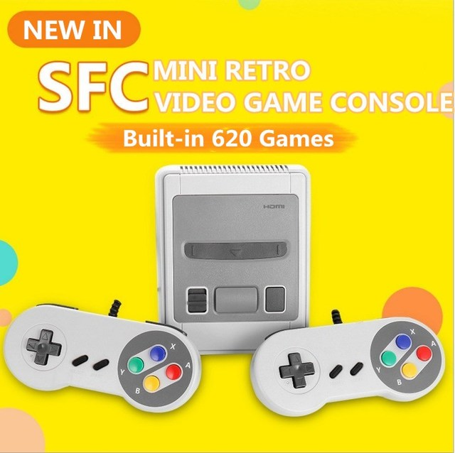 Super Mini 8 Bit Retro Video Game Console Built-in 620 Classic Games PAL&NTSC Family TV Handheld Game Player with 2 Gamepads