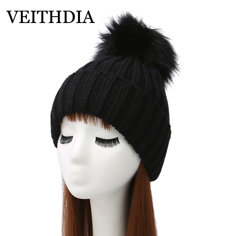 VEITHDIA Mink and fox fur ball cap pom poms winter hat for women girl 's hat knitted beanies cap brand new thick female cap 1 new star spring cotton baby hat for 6 months 2 years with fluffy raccoon fox fur pom poms touca kids caps for boys and girls