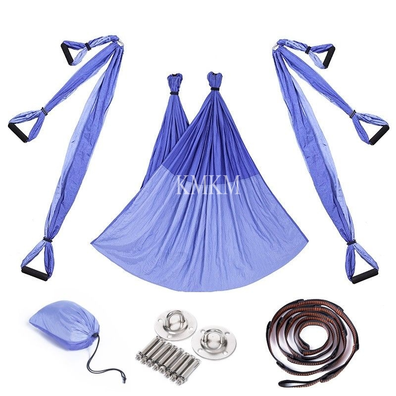 Fitness Yoga Hammock Yoga Swing Trapeze Inversion Anti-gravity Aerial Straps High Strength Fabric Decompression With 6 Grip Hand leisure decompression hammock inversion trapeze anti gravity aerial traction yoga gym swing hanging daisy chain carabiners