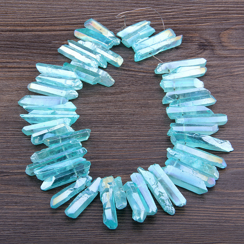 Transparency Blue Natural Crystal Healing Quartz Points Graduated Tusk Top Drilled Stick Beads Pendants Fashion Jewelry For DIY
