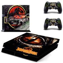 For PS4 Playstation 4 Console Skin Decal Sticker Jurassic Park  + 2 Controller Skins