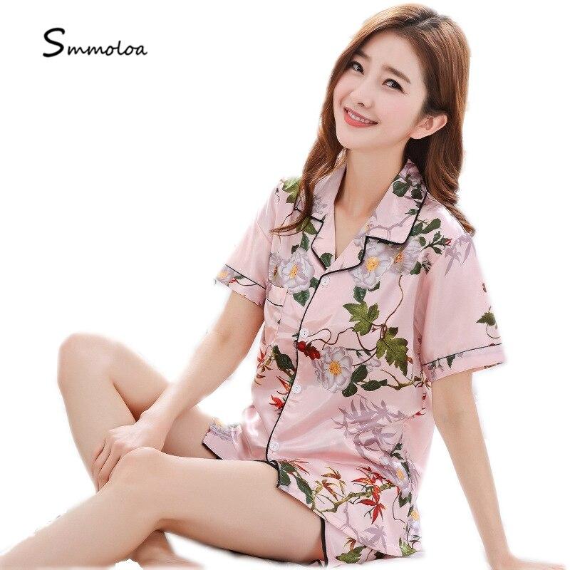 Smmoloa Women Floral Print Silk Pajamas Short Sleeves Pyjama Set Satin Women  Sleepwear 7c408ac75