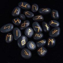 25pcs/set Engraved Riverstones Viking Runes Stones Set Carved Black Lettering Feng Shui Board Game Divination Amulet Sign