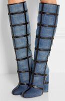 Zobairou уникальный синий плед джинсовые Сапоги и ботинки для девочек Для женщин Женские пикантные туфли на высоком каблуке сапоги до колена вы