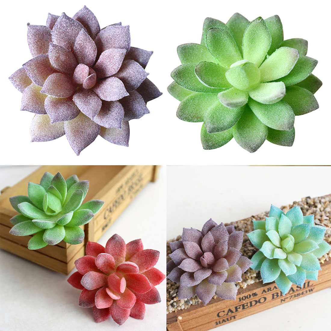 Artificial Decorations New Mini Artificial Simulation Miniature Succulents Diy Fake Plastic Green Plants Office Decor Garden Home Delicate