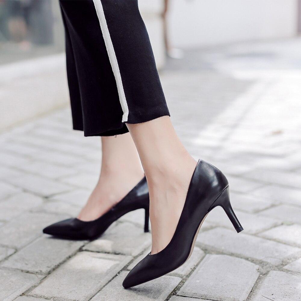 Donna in Echtem Leder Frauen Schuhe 2019 Frühling Spitz Pumpen Dünne Hohe Ferse Pumpen Kid Suede 7,5 cm ferse Party Damen Schuhe-in Damenpumps aus Schuhe bei  Gruppe 2