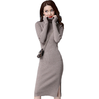 2017 New Autumn Winter Style Women Slim Side Slit Knee Length Knit Sweater Dress Fashion