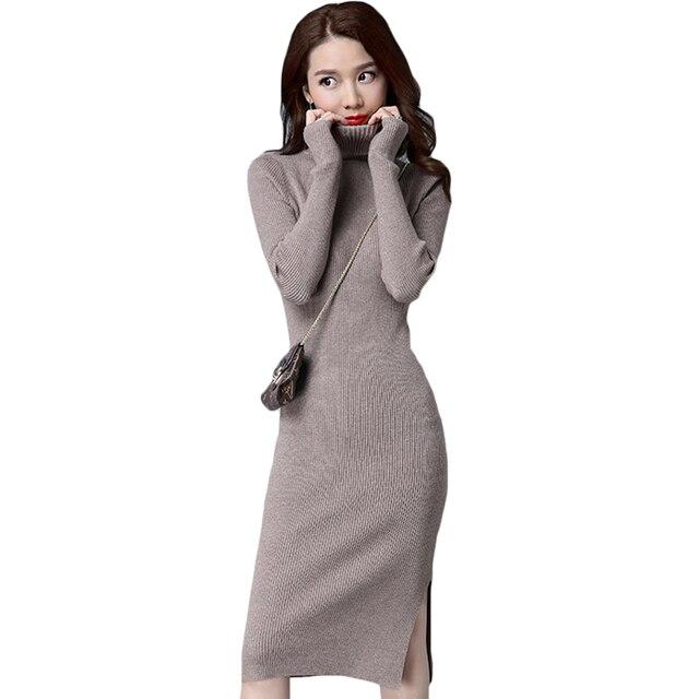 d2cd07f34f4 2018 New Autumn Winter Style Women Slim Side Slit Knee-length Knit Sweater  Dress Fashion Women Bodycon Elegant Midi Dress XH612