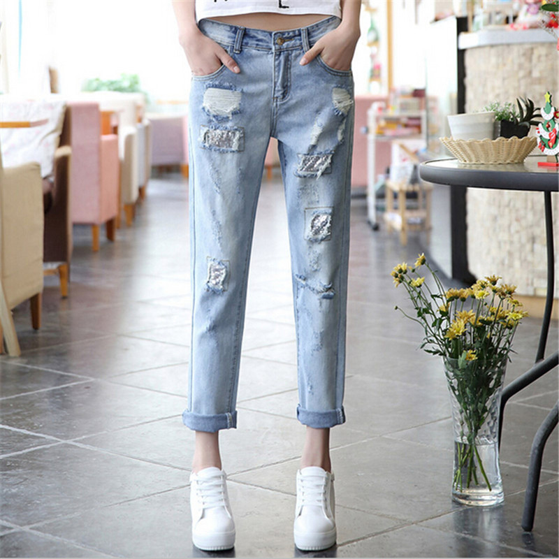 #318 2016 New Fashion Womens Casual Denim Ripped Jeans For Women Boyfriends Pants Trousers Large Size 26~32 Free Shipping