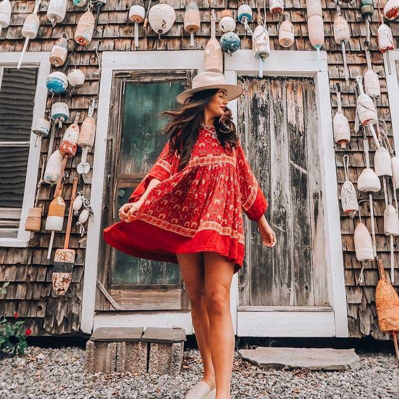 boho dress 2018 new red floral print rayon kimono sleeve loose summer dresses O-neck mini pleated bohemian chic women dresses