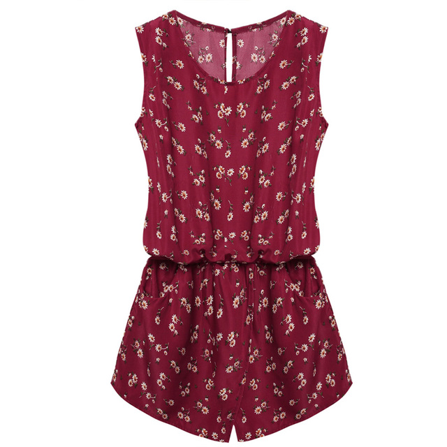 ACEVOG Summer Jumpsuit 2019 Women Playsuit Jumpsuit Casual Sexy Lady Sleeveless Backless Elastic Waist Print Mini Romper overall 6
