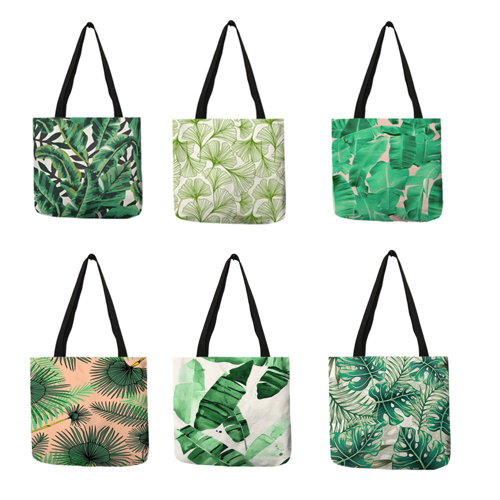 Flesh Style Women Totes Tropical Green Plant Leaves Prints Hand Bags Eco Linen Girls School Office Decorative Shoulder Bag